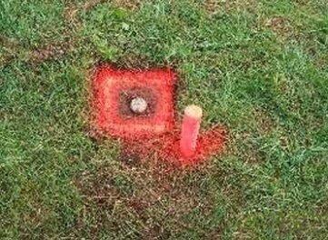 Ein rot markierter Bodenpunkt.