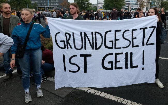 Teilnehmer einer Demonstration Anfang September 2018 in Chemnitz.