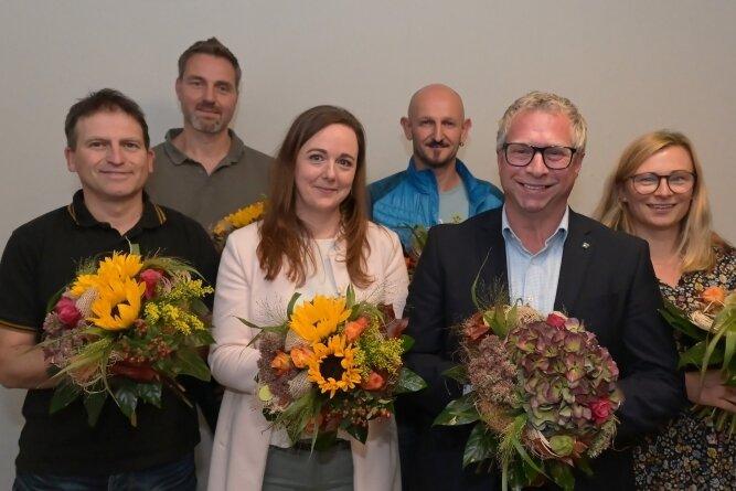 Sie bilden den neuen Vorstand des TuS Zwönitz: Lars Uhlmann, Ulf Bellmann, Claudia Geißler, Steffen Kaulfuß, Jens Kriegel sowie Ines Rösch-Hahnemann (von links)