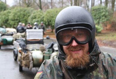 Eric Lindner aus Dresden war einer der ersten beim Wintertreffen der Biker in Augustusburg.