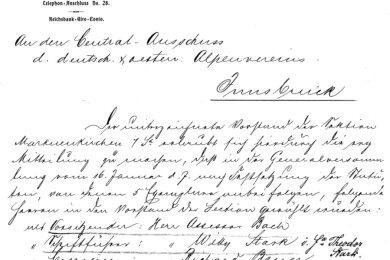 Das Gründungsdokument - hier ein Auszug - der Markneukirchener Alpenvereinssektion aus dem Jahr 1904 ist eines der wenigen überlieferten historischen Dokumente dieses Vereins.