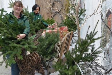 Juniorchefin Katharina Friebe und Mitarbeiterin Michaela Leichsenring dekorieren die Weihnachtsecke in der Baumschule Freiberg in Großschirma. Die Weihnachtsbäume werden im Außenbereich verkauft.