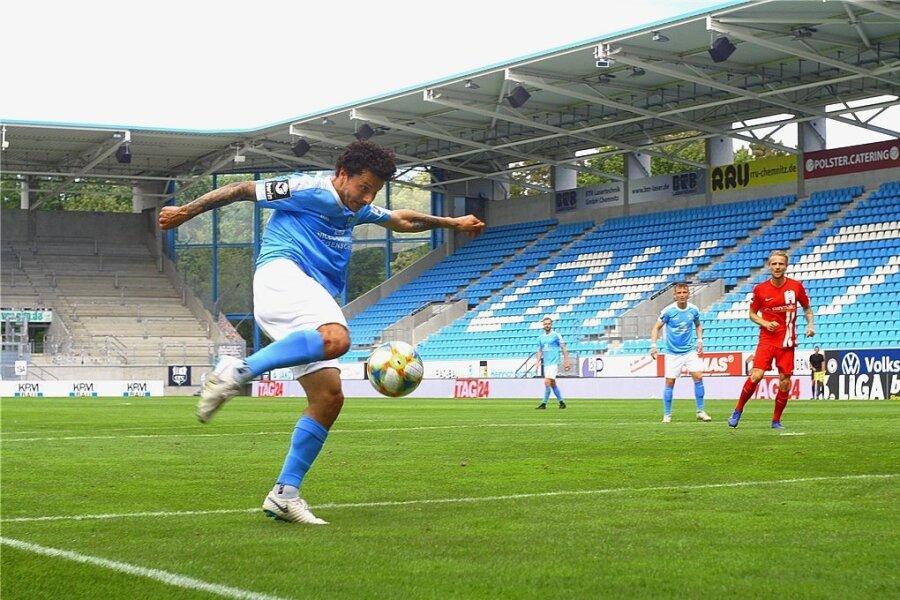 Der Treffer zum 3:1: Philipp Hosiner zeigte am Samstag noch einmal, was er auf dem Kasten hat. Mit insgesamt drei Toren gegen Rostock brachte er den Chemnitzer FC noch einmal dem Klassenerhalt nah.
