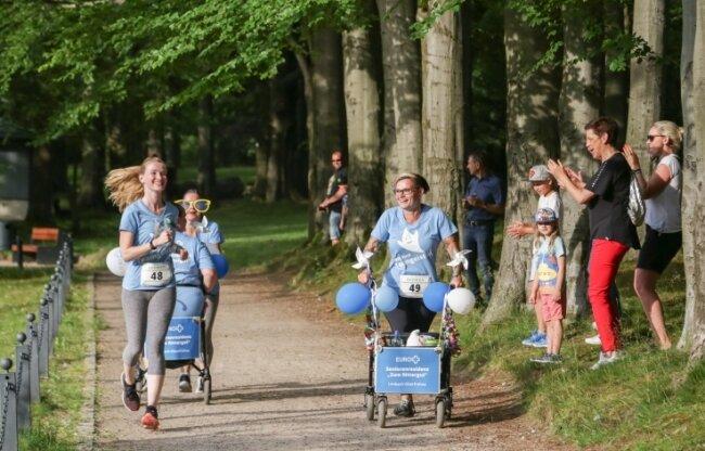 """Am Lauf """"Limbacher Lions man"""" im Stadtpark in Limbach-Oberfrohna nahmen 2019 insgesamt 79 Läufer von 18 Firmen teil."""