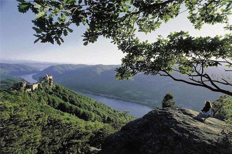 Spektakuläre Aussicht: Hoch über dem Donautal thront die Ruine Aggstein.