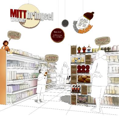 """Noch ist es nur eine Idee: In lokalen Produktregalen könnten die """"MITTbringsel"""" liegen."""
