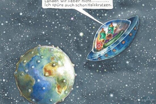 Sieht der Erdball nicht aus wie ...? Dem weltweiten Thema Corona stellt sich Fichtner auch mit dieser Karikatur.