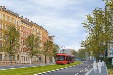 Entwurfsskizze: So könnte die Theaterstraße aussehen, wenn die Bahnen des Chemnitzer Modells darauf rollen.
