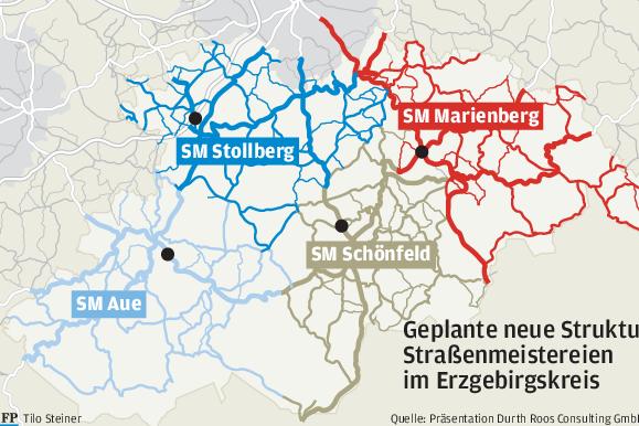 Anzahl der Straßenmeistereien im Erzgebirgskreis soll schrumpfen