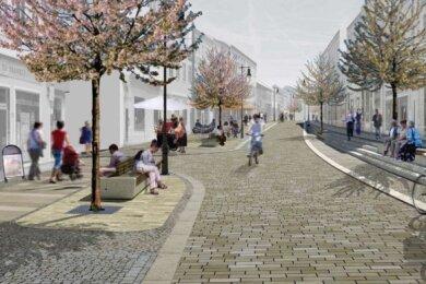 So soll die Rochlitzer Straße nach Vorstellung des Architekturbüros nach dem Umbau aussehen.