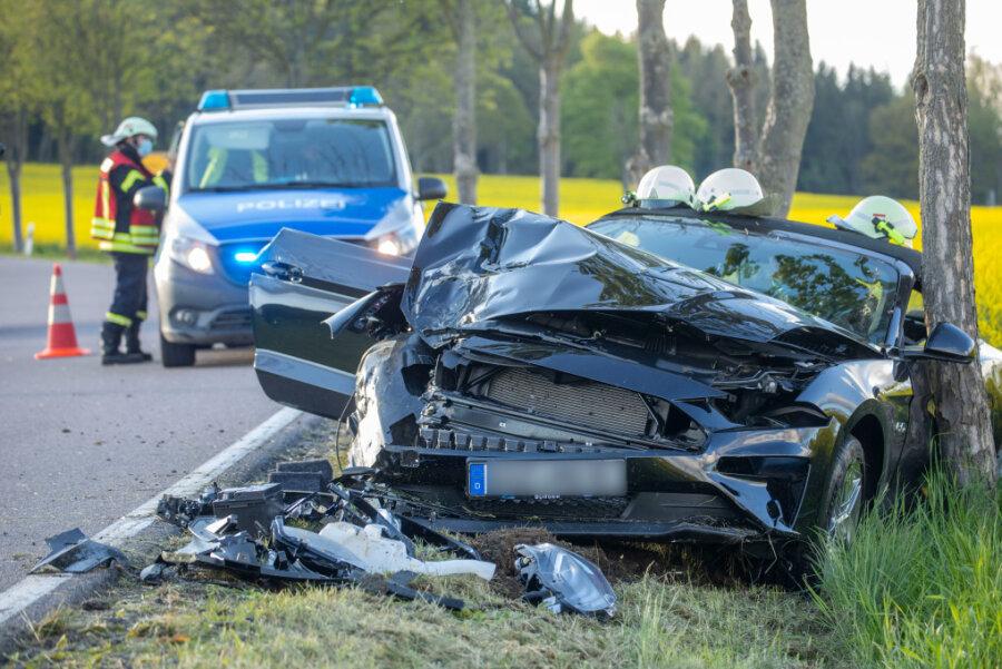 Totalschaden: Der Ford Mustang GT konnte erst durch einen zweiten Baum gestoppt werden.