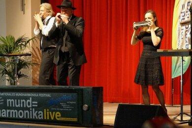 Das Mundharmonika-Quartett Austria beim Gala-Konzert 2017 in Klingenthal. Auch diesmal sind die Österreicher mit dabei.