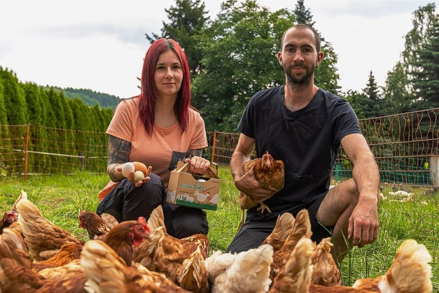 Sandra Werner und Markus Pestel haben sich auf ihrem Zeidelweider Hof auf Geflügelhaltung spezialisiert. Inzwischen gibt es die Eier nicht nur für Verwandte und Bekannte, sondern für Jedermann in der Buswarte in Rodewisch zu kaufen. Auch regionale Gaststätten gehören zu ihren Abnehmern.