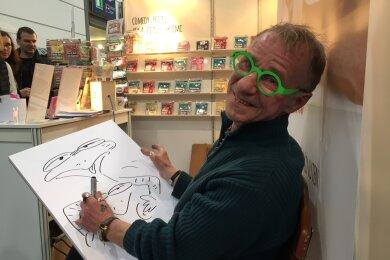 Cartoonist Rainer Bach auf der Leipziger Buchmesse 2016.