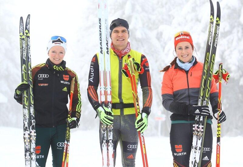 Julia Belger, Valentin Mättig und Katharina Hennig (von links) trainierten am Heiligabend und am zweiten Feiertag in Oberwiesenthal.