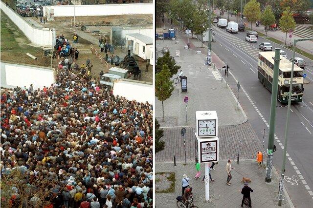 Die Bildkombo zeigt eine Menschenmasse, die sich am 10.11.1989 durch eine Mauerlücke an der Bernauer Straße in Berlin drängt und die Bernauer Straße fotografiert von derselben Stelle 2014.