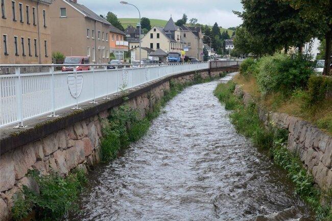 An der B 169 in Ellefeld führte die Göltzsch mehr Wasser als sonst, eine Gefahrenlage gab es aber nicht.