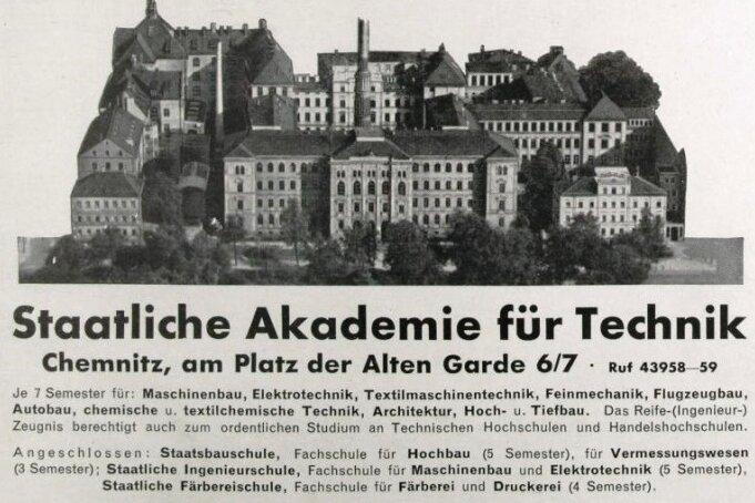 Akademie für Technik, die heutige TU (Anzeige).