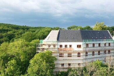 Schön thront es über der Zschopau: Schloss Sachsenburg.