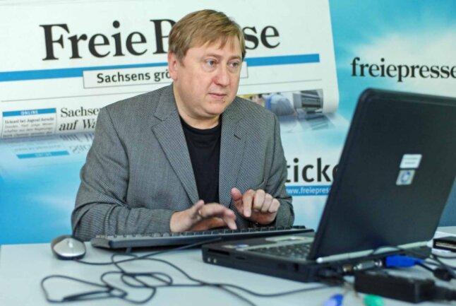 """Zu Gast bei der """"Freien Presse"""" in Chemnitz: André Hahn, Spitzenkandidat der Linken bei der Landtagswahl in Sachsen."""
