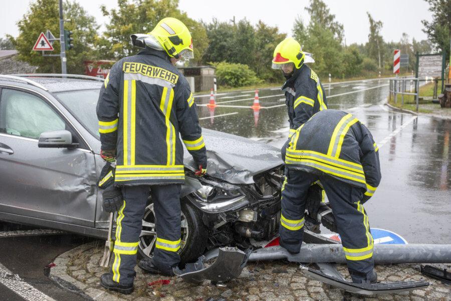 Cunersdorf: Unfall an der Kreuzung Morgensonne