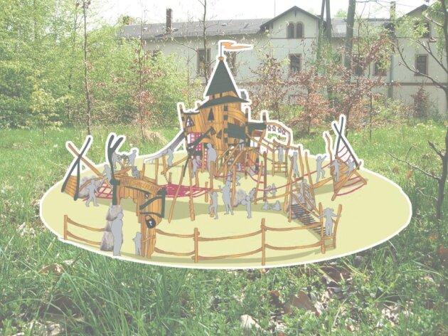 Auf der Fläche vor dem Waldschlößchen soll nach Vorstellung der Stadt der Waldspielplatz nach diesem Entwurf entstehen. Doch Denkmalschützer haben dagegen ihr Veto eingelegt.