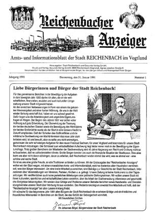 So sah die Titelseite der Nummer eins des Reichenbacher Tageblatts und Anzeigers aus.