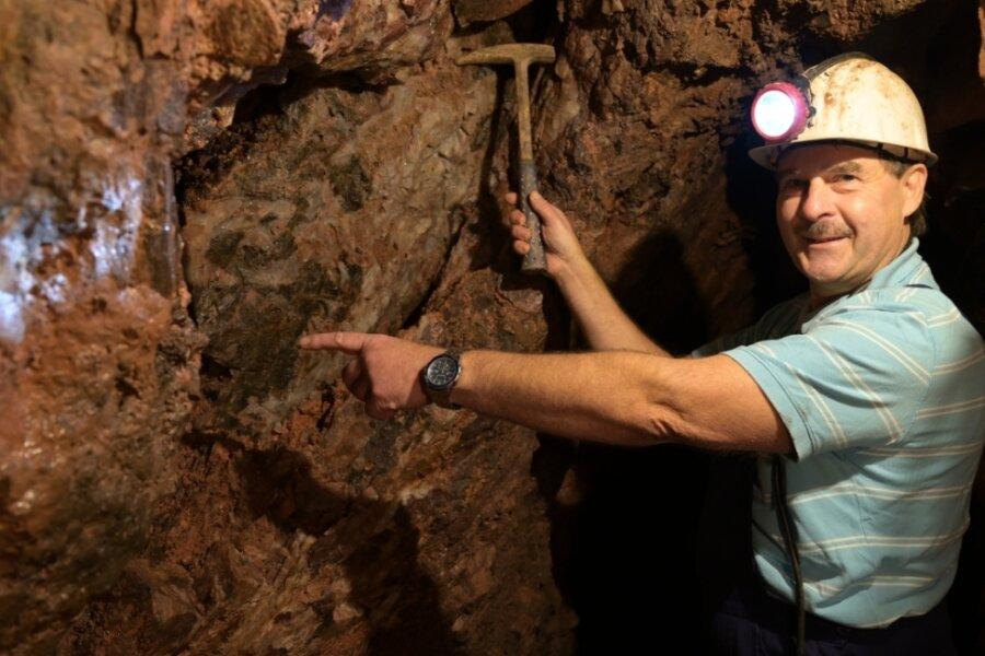 """""""Überall im Stollen kann man die fantastische Mineralisation sehen"""", sagt Karsten Georgi vom Bergbauverein Aue. Am Samstag zur Museumsnacht gehört er zu den Bergführern, die Besuchern den Vestenburger Stolln in Aue zeigen. Dieser wird seit 1995 vom Verein aufgeschlossen."""