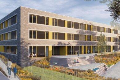 So soll die künftige Grundschule am südlichen Sonnenberg einmal aussehen. Im Frühsommer wurde mit den Bauarbeiten begonnen. Mit Beginn des neuen Schuljahres sollen die ersten Schüler im Gebäude unterrichtet werden.