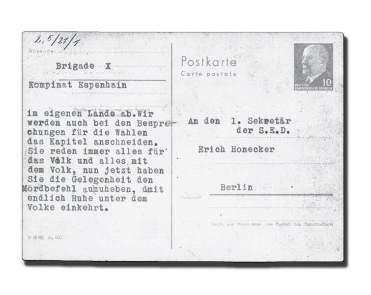 Postkarte aus dem Braunkohlekombinat Espenhain. Die Kumpel bringen ihre Sorge zum Schießbefehl zum Ausdruck.