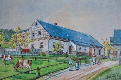 Idyllische Dorfszene an einem Bauernhaus in Hohendorf, eine Arbeit vonAlwin Künzel aus dem Jahr 1945.
