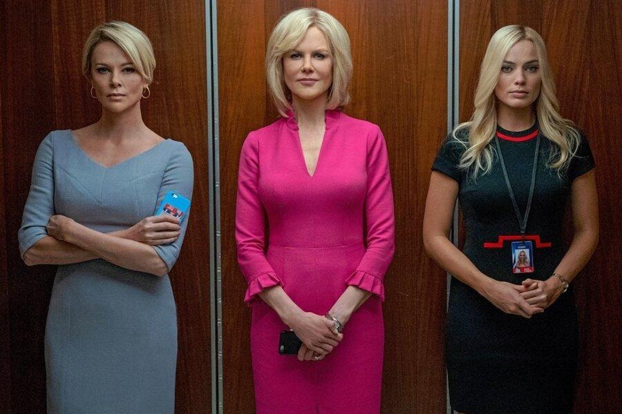 """Über das Thema Sexismus sprachen die Gäste in der Sternwarte Rodewisch, nachdem sie sich den hochkarätig mit Nicole Kidman (Mitte), Charlize Theron (links) und Margot Robbie besetzten Film """"Bombshell"""" angeschaut haben."""