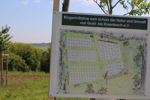 Auf der Streuobstwiese oberhalb von Kloschwitz soll die Feldscheune errichtet werden.