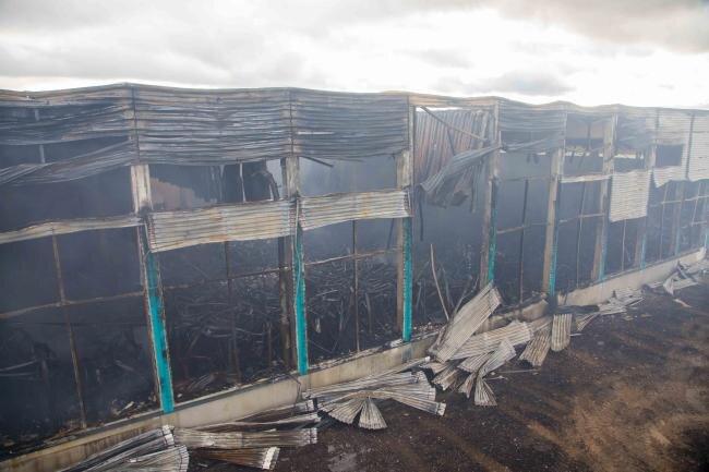 Die abgebrannte Lagerhalle kurz nach dem Großbrand.