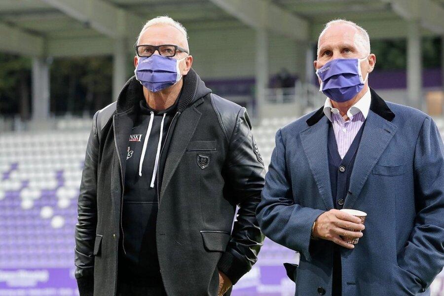 Schwierige Tage beim FC Erzgebirge: Geschäftsführer Michael Voigt (links) und Präsident Helge Leonhardt.