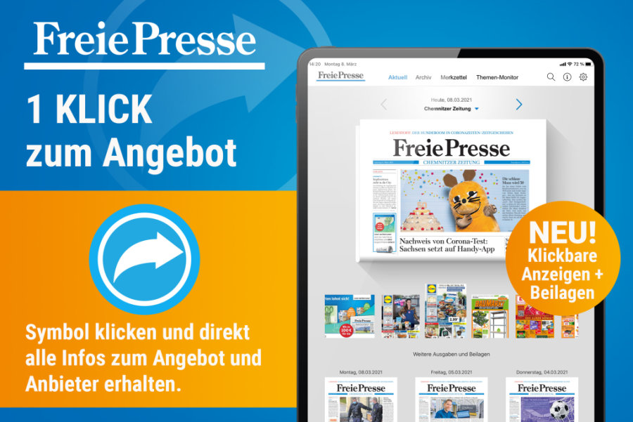 Die interaktiven Funktionen im E-Paper der Freien Presse: klickbare Anzeigen und Beilagen