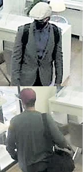 Auf dem oberen Bild ist der Täter beim Betreten des Juweliergeschäfts zu sehen. Das untere Bild zeigt ihn umgezogen vor dem Verlassen des Ladens.