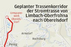 Starkstromtrasse: Stadt Penig will Verein bei Klage unterstützen