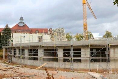 """Die Sprachheilschule """"Anne Frank"""" in Zwickau war auch ohne steigende Schülerzahlen in Platznot geraten. Am bisherigen Standort entsteht derzeit ein Neubau."""