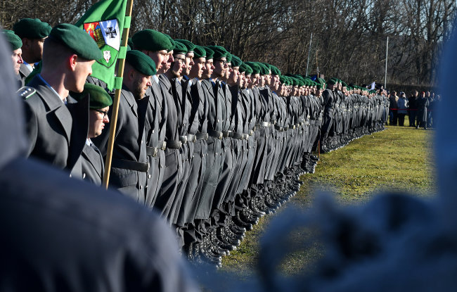 Diese Rekruten vom Marienberger Panzergrenadierbataillon 371 absolvieren derzeit in Frankenberg ihre Grundausbildung.