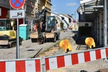 Bau auf der Helenenstraße in Limbach-Oberfrohna.