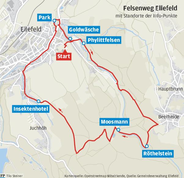 Ellefeld beschildert seinen Abschnitt vom Felsenweg