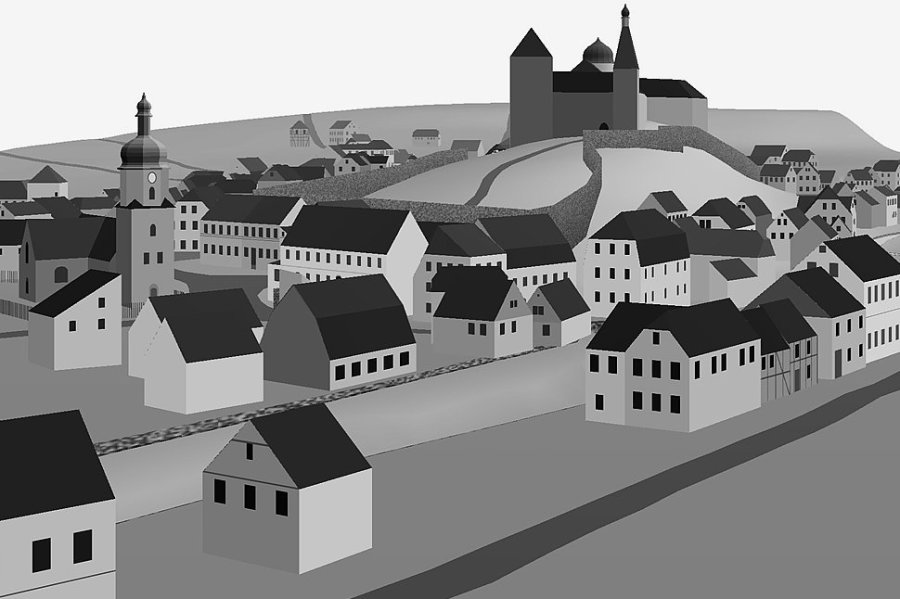 Blick von der Ringstraße auf das historische Mylau. So sieht der aktuelle Stand des 3D-Modells aus.