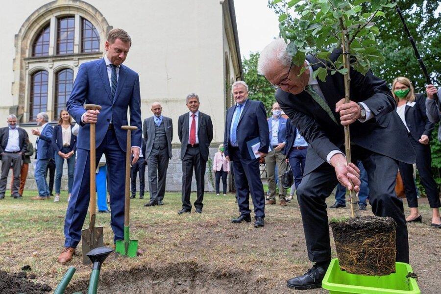 Gemeinsamer Einsatz: Sachsens Ministerpräsident Michael Kretschmer und Winfried Kretschmann, Ministerpräsident von Baden-Württemberg, pflanzen beim Besuch des Bautzner Schiller-Gymnasiums einen Baum.
