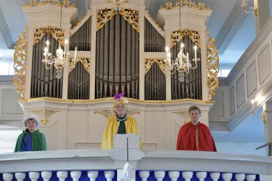 Die Heiligen drei Könige mit Ben Seliger als Balthasar, Anton Exner als Caspar und Noah Sandig als Melchior sind beim Krippenspiel im Kirchspiel Frauenstein mit dabei.