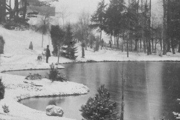 Die geschwungene Uferlinie des Teiches am Pleasureground vor 1903.