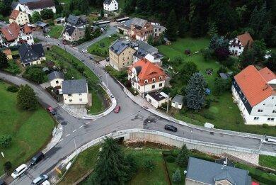 Blick aus der Luft auf den nun komplett fertiggestellten Knotenpunkt.