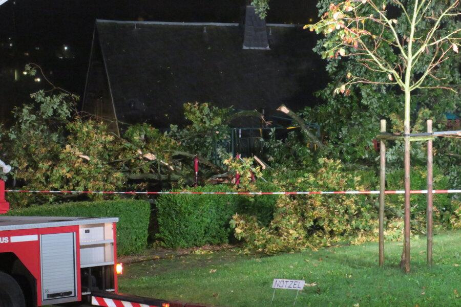 In Schneeberg drohte ein Baum am Kirchplatz auf ein Wohnhaus zu fallen. Ein großer Ast war schon abgebrochen.