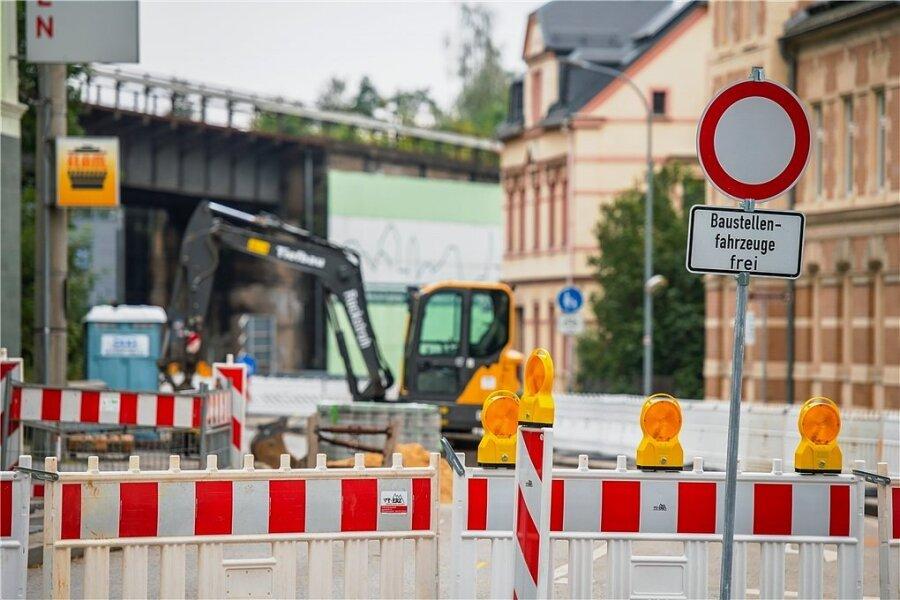 Blick auf die Baustelle am Kreisverkehr Viadukt in Schwarzenberg.