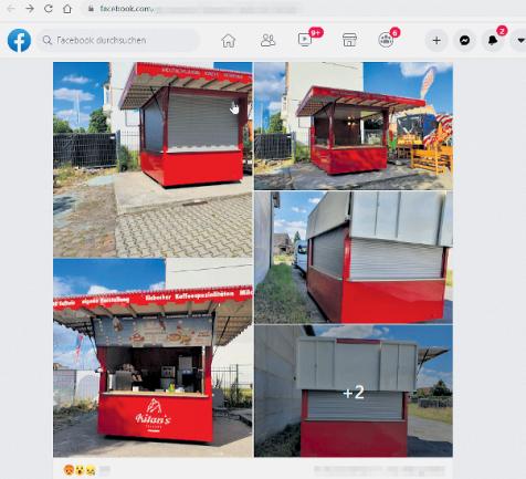 Mit diesen Fotos bei Facebook sucht Unternehmer Lars Weinert nach dem gestohlenen Eisstand. Dienstagnacht wurde er abtransportiert.